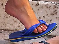 Candid flip flops feet - Baresandals 1192