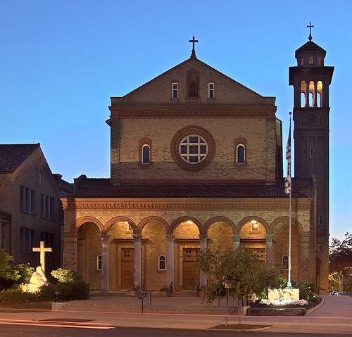 Our Lady of Sorrows Roman Catholic Church, in Saint Louis, Missouri, USA - front at dusk