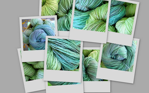 Collage of Handpainted Wool Yarn