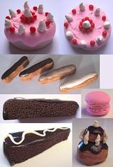 Eclairs, macaron, religieuse (Darkitty) Tags: miniatures patisseries chocolat gteaux religieuse cration macaron clairs darkitty