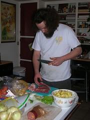 Josh making stew