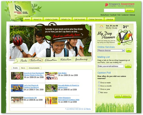 ... ' booths, I found out that NPARKS has redesigned its website