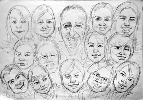 Group caricatures UBS Pencil sketch