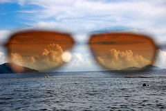 the world through my eyes (Justin Gaurav Murgai) Tags: ocean sea sunglasses island hongkong view harbour contest perspective shades land lamma thechallengegame challengegamewinner tcgg
