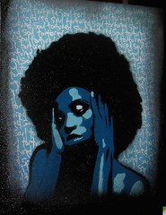 tortured soul -blu- canvas dontated to Cancer Sell (asboluv) Tags: girl stencil afro canvas asbo torturedsoul asboluv dorlis cancerse