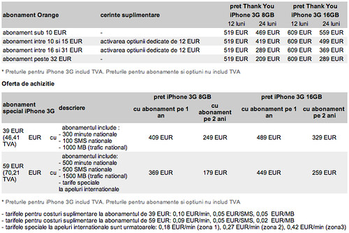Preturi si abonamente pentru iPhone 3G