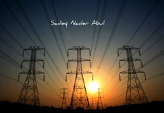 Power Lines Sunset (Sadeq Nader Abul) Tags: sunset lines canon eos power kuwait nader sadeq   abul   400d