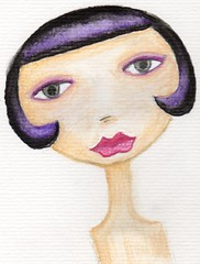 paper doll head (on watercolor paper)