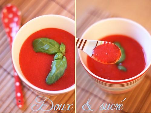 Soupe de fraises au poivron confit