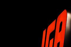 Product placement (fusaka) Tags: red black night logo rouge noir supermarket minimalism soir picerie minimalisme