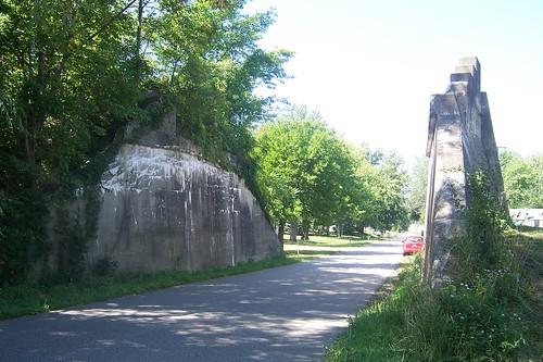 Railroad overpass ruins