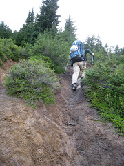 Matt tackles a steep and muddy section of the trail