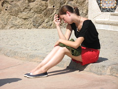 anxiety (asfal.TO) Tags: barcelona park shadow girl spain barca guell parkguell