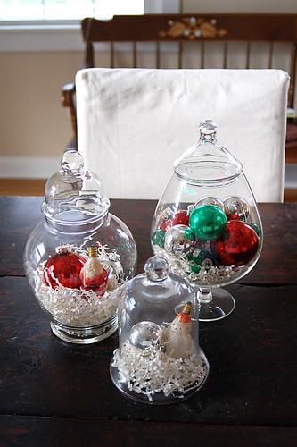 Christmas apothecary jars.