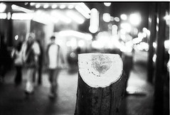 Gone but not forgotten (Justin Berger) Tags: blackandwhite tree film night zeiss highcontrast stump neopan 19 iso1600 biotar granvillemall overdeveloped 58m exaktavx ilfosol3