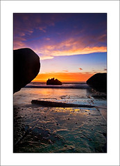 (The Sage of Shadowdale) Tags: ocean morning sky wet water clouds sunrise d50 dawn early rocks australia nsw 1224mmf4 forrestersbeach colourscolors