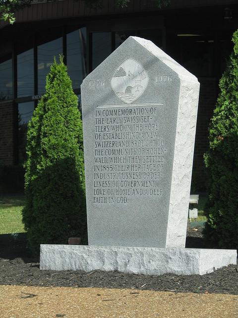 Hohenwald Swiss Settler monument
