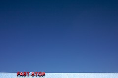 fast stop (xgray) Tags: blue roof sky color sign digital canon austin typography eos 50mm prime texas text fast minimal negativespace stop type 5d minimalism ef50mmf14usm postedtobehindthelensonlj featuredonadidapcom