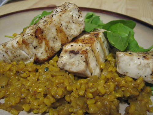 plated swordfish and lemon rice