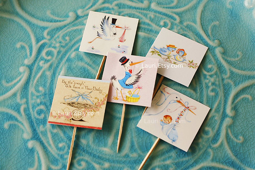 baby stork cupcake topper set