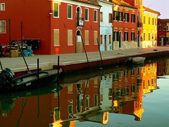 Burano reflections (daniele romagnoli) Tags: italien venice sunset colors reflections veneza canal italia village lagoon laguna reflexions venise venecia ve