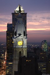5:10 (Harpo42) Tags: sunset green tower cars clock philadelphia statue clouds skyscraper lights evening purple traffic dusk cityhall headlights aerial historic explore highrise rushhour philly ciracentre marketstreet eagles williampenn mellonbank january2009