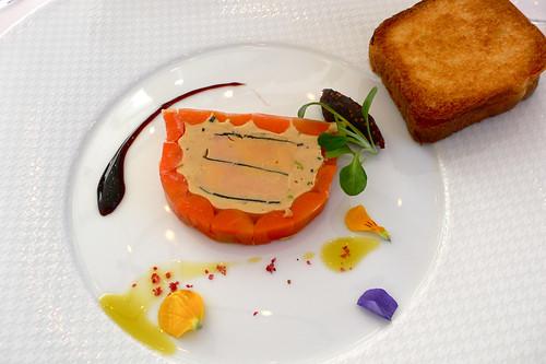 Fondant de fore gras, carottes, truffes noires et pistaches - t.y