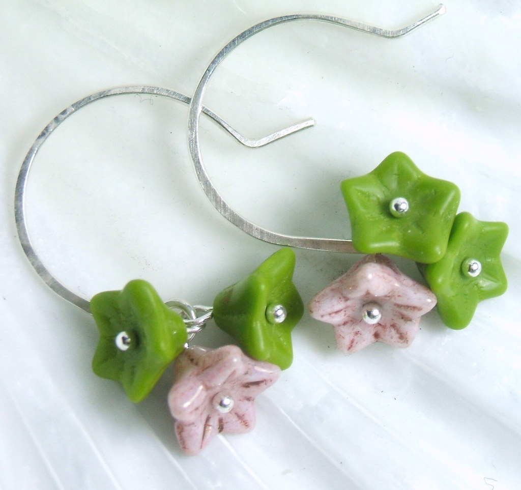 Blushing Wasabi Bouquet Earrings in Silver