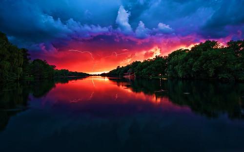 フリー写真素材, 自然・風景, 川・河川, 夕日・夕焼け・日没, 雷・落雷・稲妻,