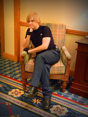 Leon Poses for the Camera (stormymoorecosplay) Tags: park chris john hearts ada costume cosplay zombie alice south bleach evil kingdom stormy s moore leon wong wonderland naruto vivi kennedy chapman roxas pence resident redfield 2011 ouran vipperman stormymoorecosplay roundcon