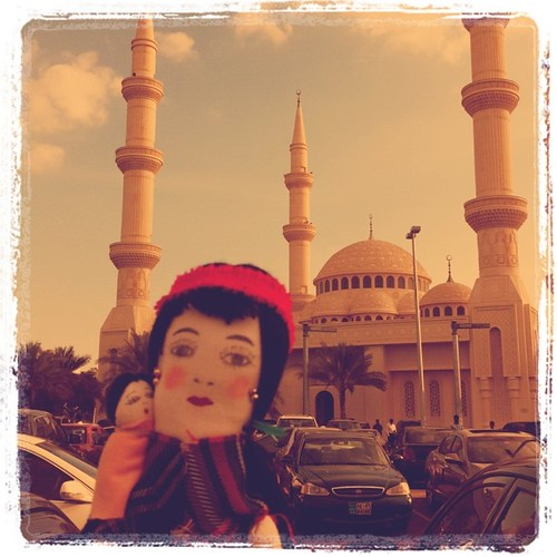 Miss Iggy by the mosque near Saint Joseph Church, Abu Dhabi