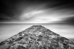 Take me (CResende) Tags: longexposure summer vacation bw motion beach portugal clouds jetty contemplation takeme bigstopper cresende