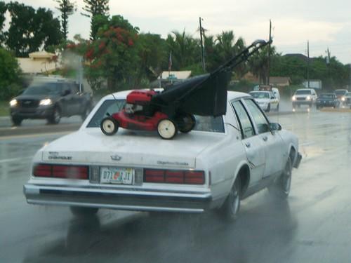 Lawnmower on a Car