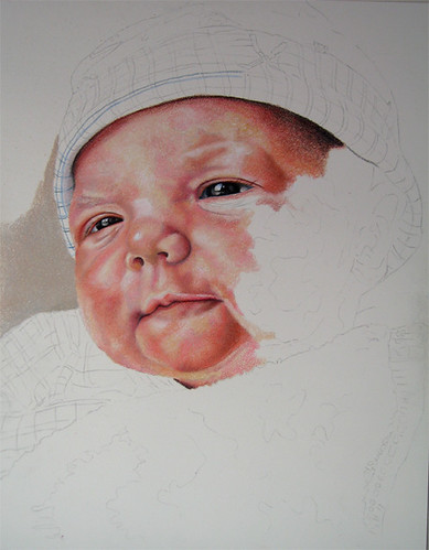 In progress photo of colored pencil drawing entitled Emre, Newborn
