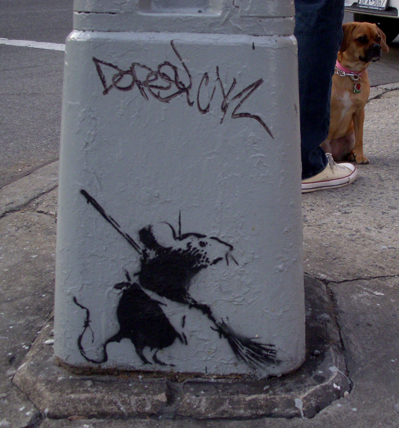 Banksy Rat and a Cute Dog