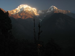Chhomrong View-Annapurna Base Camp Trek-Nepal (mikemellinger) Tags: nepal sunset mountains nature trekking scenery himalayas snowcappedmountains chhomrong annapurnasouth