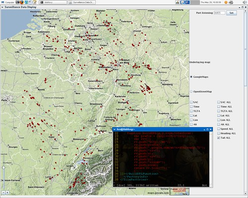 Screenshot of TIS-B data plotting java app using google map