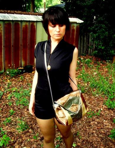 metallic faux snakeskin purse