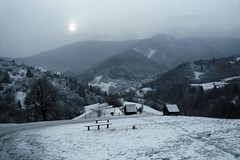 Winter panorama (Gilderic Photography) Tags: road wood trip travel blue winter vacation panorama sun house mist mountain snow cold tree heritage pine forest montagne bench landscape lumix soleil site europe pin humanity path altitude hiver hill unesco panasonic route valley chalet slovensko slovakia neige foret arbre sentier brouillard pente chemin banc bois brume colline cabane patrimoine blueribbonwinner slovaquie vlkolinec mywinners abigfave carpates gilderic platinumphoto goldstaraward thegreatshooter