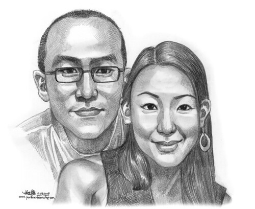 Couple portraits in pencil Angela grayscale