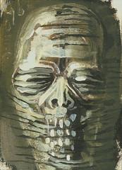 Bandaged Head (Shain Erin) Tags: original art face atc dark painting acrylic raw head outsider fineart goth surreal aceo mummy bandage visionary artcard miniture shainerin neomythic