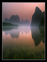 Streaming into Fairyland by Michael Anderson (AndersonImages) Tags: china travel pink nepal sunset mountain reflection grass digital sunrise trekking reeds liriver michael asia guilin pastel peak tibet hasselblad anderson monastery medium format himalaya spiritual sichuan everest michaelanderson xingping h2d ostrellina