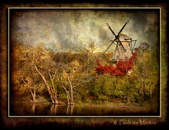 Holland on the Fox (Paulette Mertes) Tags: trees holland fall texture nature windmill clouds river scenic foxriver blueribbonwinner proudshopper artistictreasurechest