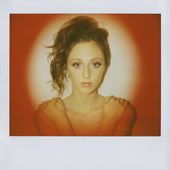 red (jena ardell) Tags: red selfportrait me girl face circle polaroid hands arms spotlight pout polaroidspectra spectra clavicle jenaardell