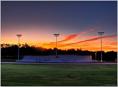 Sunrise Over the Bleachers (youneverknowphotography) Tags: california morning trees sky usa senior beautiful grass clouds sunrise canon landscape outside lights early football pretty track outdoor class powershot adobe 09 norcal bleachers northern visitor hdr turf lightroom g7 tonemapped