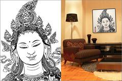 "Framed Art ""Buddha"" 1 (tattoo4u) Tags: art asian japanese design ipod framed buddha interior stickers picture drawings buddhism line zen illustrator vector eps"