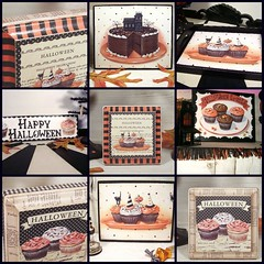 Halloween Sweets by Everyday is a Holiday (holiday_jenny) Tags: party black cute art fall halloween kitchen cake collage cat vintage shopping painting cupcakes baking fdsflickrtoys candy 4x4 sweet jackolantern chocolate artsquared stripes paintings mini ephemera spooky sprinkles bakery frosting jol hauntedhouse prim allhallowseve everydayisaholiday jennysbakehsop