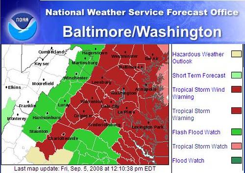 NWS Advisory Map 9-5-08