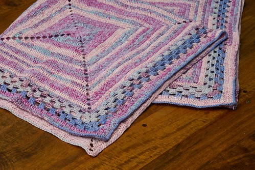 Square Target Patch Blanket with Granny Square Border