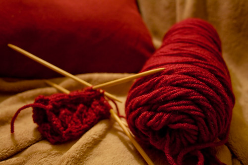 Knitting in Red